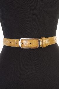 Camel Croc Skin Textured Belt