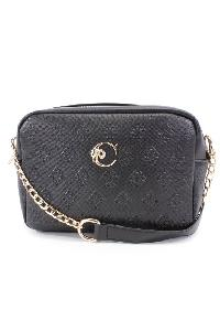 Black Embossed Faux Leather Handbag