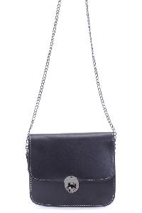Black Twist Lock Mini Chain Shoulder Handbag