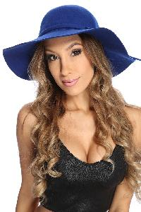Royal Blue Knotted Side Tie Floppy Hat