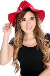 Red Felt Faux Pearl Homburg Hat