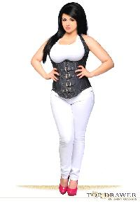 Denim Steel Boned Underbust Corset With Buckles Plus Size
