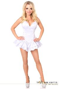 White Satin Steel Boned Strapless Corset Dress