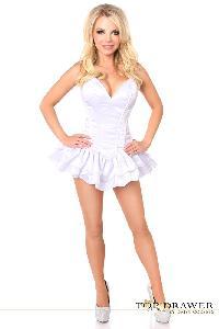White Satin Steel Boned Strapless Corset Dress