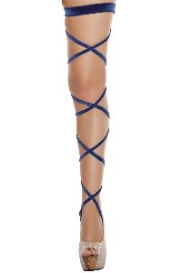 Blue Velvet Leg Strap with Attached Garter