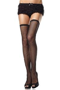 Black Fishnet Scalloped Trim Thigh High Stockings