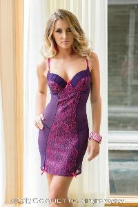 Purple Fuchsia Lace Over Satin Gathered Mesh Chemise