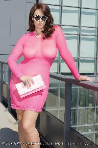 Neon Pink Long Sleeve Mesh Plus Size Dress