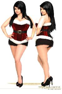 Red White Holiday Velvet Steel Boned Corset Top