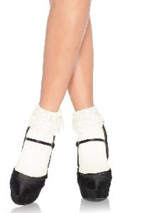 White Crochet Venice Lace Trim Anklet Socks