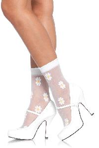 White Yellow Woven Daisy Anklets Socks