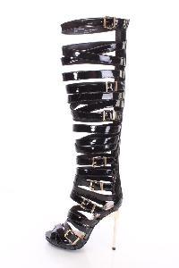 Black Strappy Gladiator Stiletto High Heels Patent