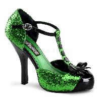 Green Glitter Patent T-Stap Bow Front Holiday Pumps