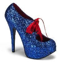 Blue Glitter Bow Front Holiday High Heels