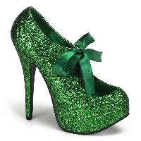 Green Glitter Bow Front Holiday High Heels