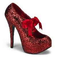 Red Glitter Bow Front Holiday High Heels