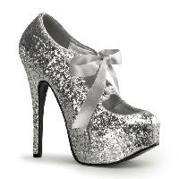 Silver Glitter Bow Front Holiday High Heels