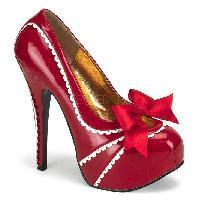 Red Patent Scalloped Edges Bow Front Holiday High Heels