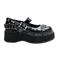 Black Bullets Maryjane Platforms Faux Leather