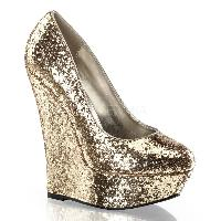Gold Platform Wedges Glitter