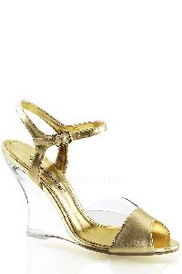 Gold Single Sole Wedges Metallic Faux Leather