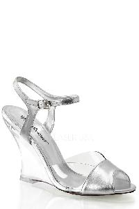 Silver Single Sole Wedges Metallic Faux Leather