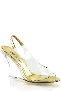 Clear Gold Single Sole Wedges PVC
