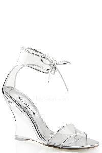 Clear Single Sole Lace Tie Wedges PVC