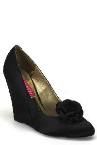 Black Floral Bud Single Sole Wedges Satin