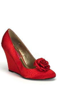 Red Floral Bud Single Sole Wedges Satin