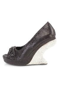 Black Gemstone Rhinestone Curved Wedges Faux Leather