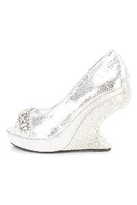 Silver Gemstone Rhinestone Curved Wedges Faux Leather