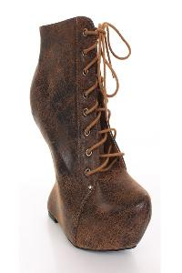 Brown Crinkled Faux Suede Lace Up Anti Gravity Wedges