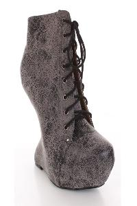 Smoke Crinkled Faux Suede Lace Up Anti Gravity Wedges