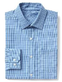 Gap Wrinkle Resistant Plaid Standard Fit Shirt - Union blue