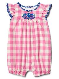 Gap Gingham Flutter Shortie One Piece - Pixie dust pink