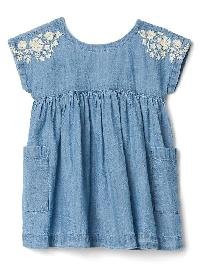 Gap Floral Embroidery Chambray Dress - Light wash