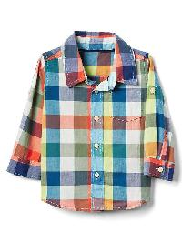 Gap Plaid Madras Convertible Shirt - White multi