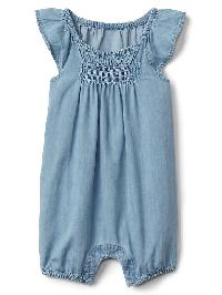 Gap Chambray Flutter Shortie One Piece - Light wash