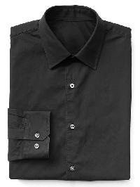 Gap Stretch Poplin Standard Fit Shirt - Black