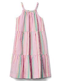 Gap Pastel Stripe Tier Dress - Light pink stripe