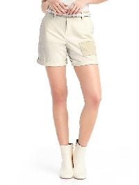 Gap Patchwork Girlfriend Chino Shorts - Snow cap