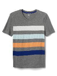 Gap Bold Stripe V Neck Slub Tee - Grey heather