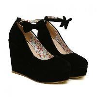 New Arrival Bowknot and Buckle Design Wedge Shoes For Women - BLACK