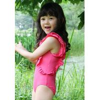 Cute Scoop Neck Flounced Pure Color Backless Girl's One-Piece Swimsuit - ROSE