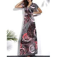 Vintage V-Neck Short Sleeve Circle Printed Plus Size Dress For Women - COLORMIX