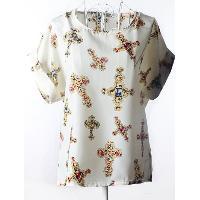 Elegant Plus Size Scoop Neck Cross Pattern Blouse For Women - BEIGE