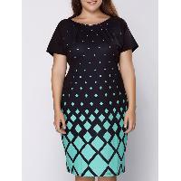 Graceful Round Collar Short Sleeve Argyle Pattern Plus Size Midi Dress For Women - GREEN