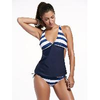 Stylish Plunging Neck Striped Women's Tankini Set - PURPLISH BLUE