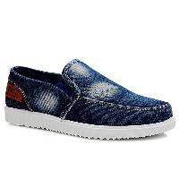 Concise Elastic Band and Denim Design Casual Shoes For Men - DEEP BLUE